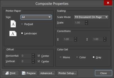 Two variations of the Page Setup dialog