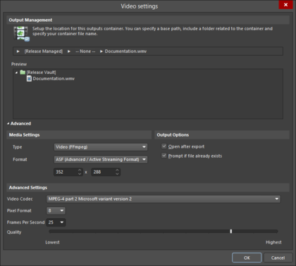 The Advanced (top) and Basic (bottom) versions of the Video settings dialog