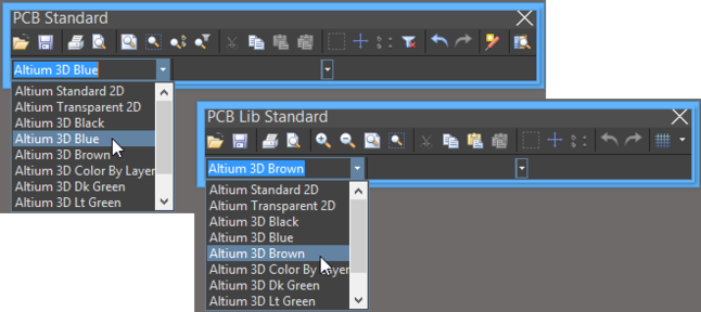 Accessing the Change View Configuration feature from the Standard toolbar in PCB and PCB Library Editors.