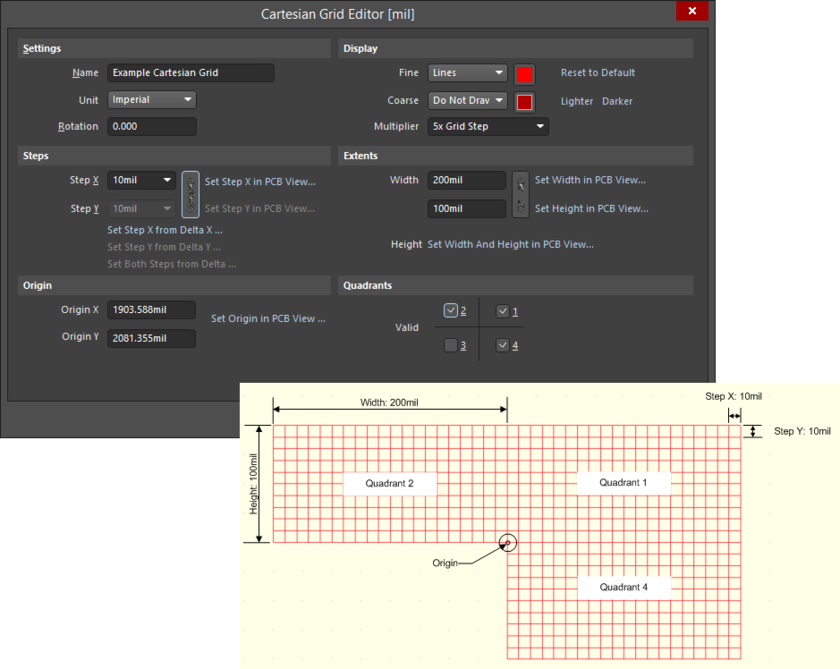 Example Cartesian grid definition, using the Cartesian Grid Editor dialog, and resulting appearance in the workspace.