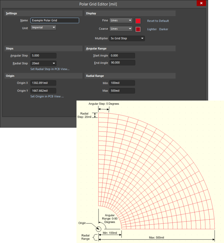 Example Polar grid definition, using the Polar Grid Editor dialog, and resulting appearance in the workspace.