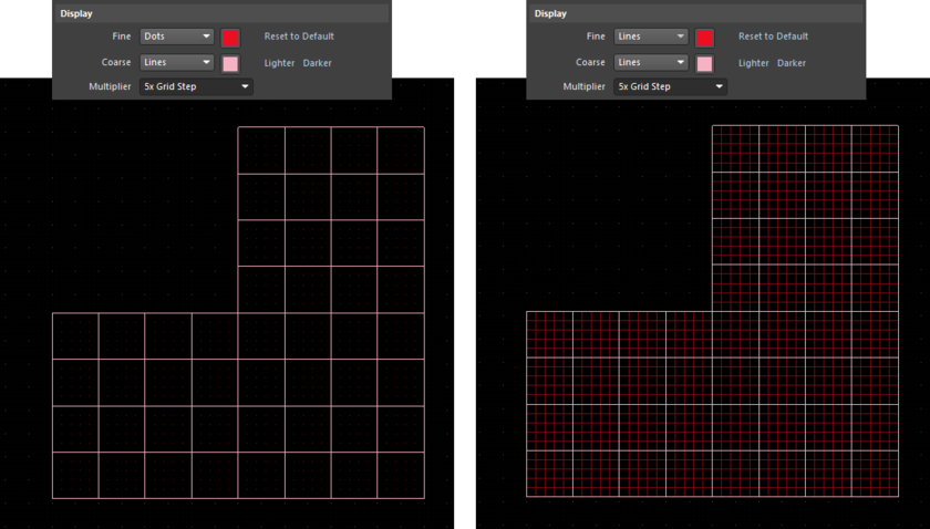 Example Cartesian grid with fine- and coarse-level display grids presented in the workspace. Left: Fine-level displayed using dots, coarse-level using Lines. Right: Both fine- and  coarse-level grids displayed using Lines.
