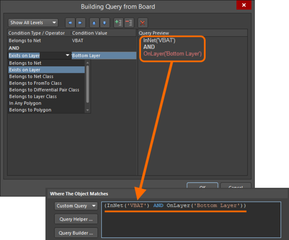 Use the Query Builder to build a logical query expression through a series of conditional statements.