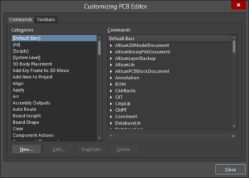 Two variations of the Customizing Editor dialog