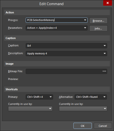 The Edit Command dialog