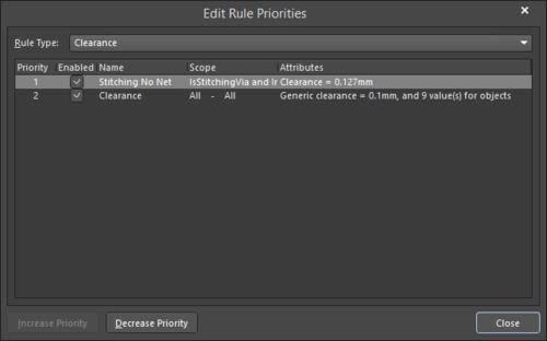 The Edit Rule Priorities dialog