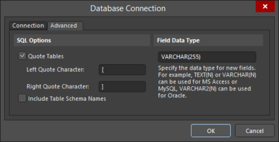 The Database Connection dialog