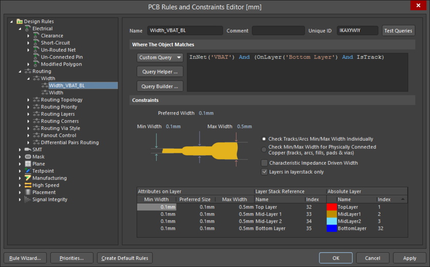 Accessing the detailed controls for the rule, including scope and constraints.