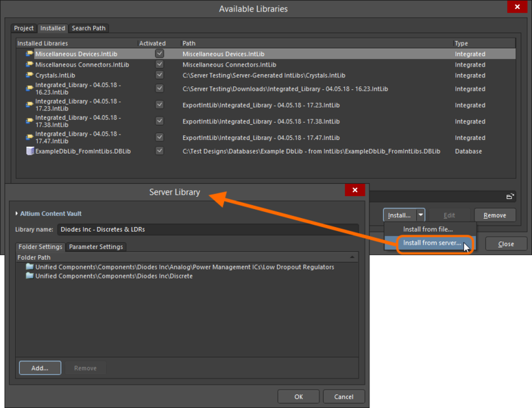Server folders can be installed like all other Altium Designer libraries, in the Available Libraries dialog.Use the Server Library dialog to map Server folders to the  library name you want displayed in the Libraries panel.