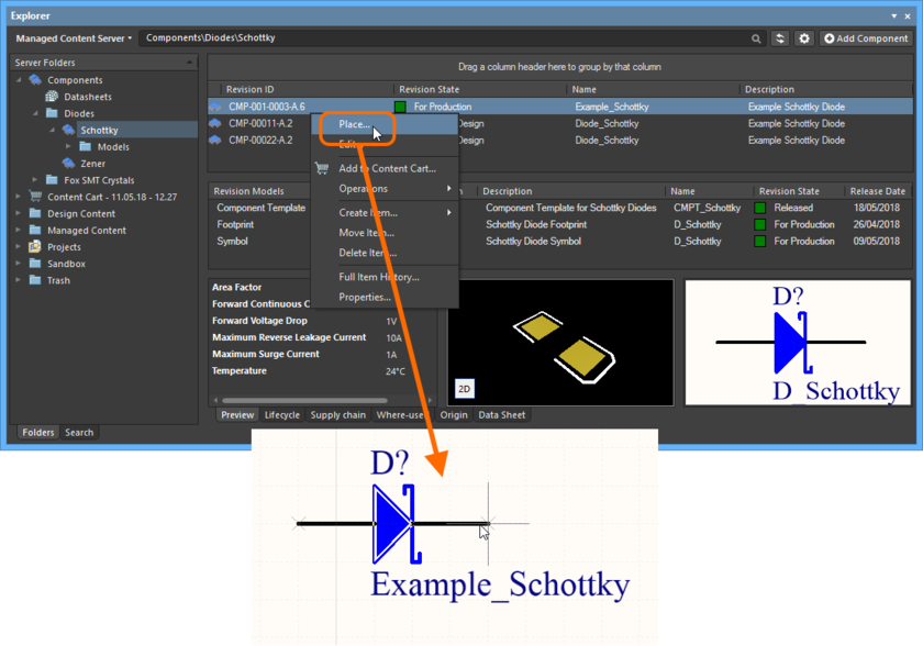 Place a managed component from the Explorer panel, using the dedicated Place command.