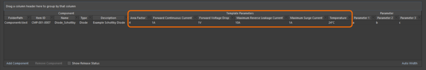 Appearance of example template-based parameters in the area where the component definitions themselves are defined, when using the Component Editor in its Batch Component  Editing mode.