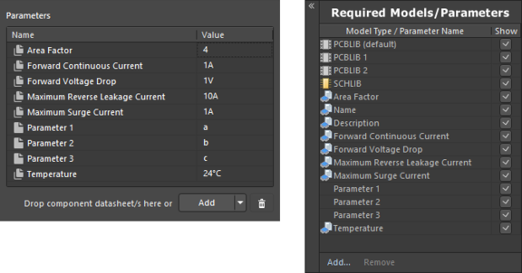 Example of parameters after linking to a revision of a Component Template Item, when using the Component Editor in  Single Component Editing mode (left) and Batch Component Editing mode (right).