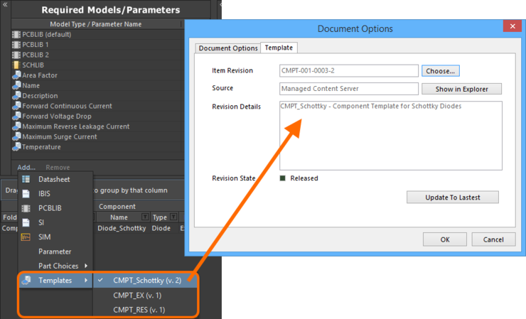 Quickly linking a Component Template Item from a menu of all available templates.