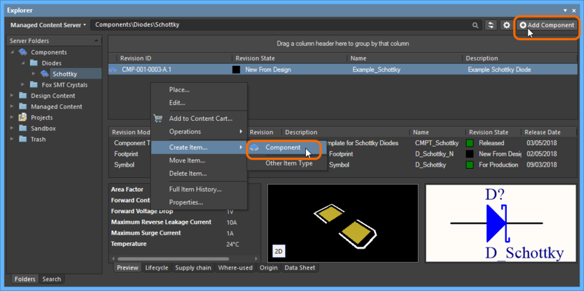 Accessing Item-less component creation mode.