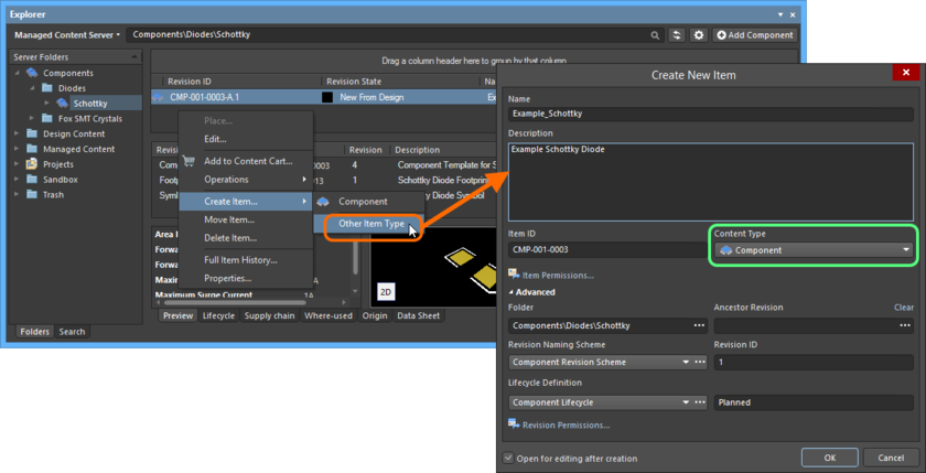 Creating a Component Item within a Components folder - while the correct Content Type is available on the context menu (Component command), using this will take you into  item-less component creation mode. To create a traditional Item using the Create New Item dialog, choose the Other Item Type command from the menu instead.