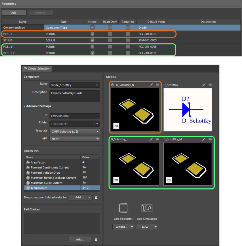 An example component defined in the Component Editor (Single Component Editing mode), using a referenced Component Template. The template has three footprint models defined,  which are brought into the component definition. Notice that the PCBLIB model entry in the template is used as the default footprint model (distinguished by an icon at its upper-left)  when defining the component. Hover over the image to see the same component being defined with the Component Editor in Batch Component Editing mode. In this case, the default  footprint is termed PCBLIB (default).