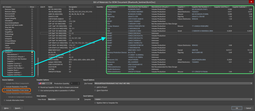 Including supply chain data for managed components in a Bill of Materials, generated for the project from an underlying ActiveBOM document (*.BomDoc). Note that the option  to Include Parameters From Server is not enabled.