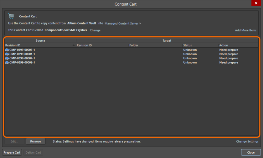 The main acquisition grid, listing all Item Revisions chosen for acquisition from the source Server.