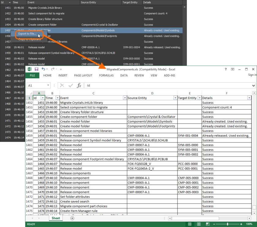 An example migration report, exported into Excel format.