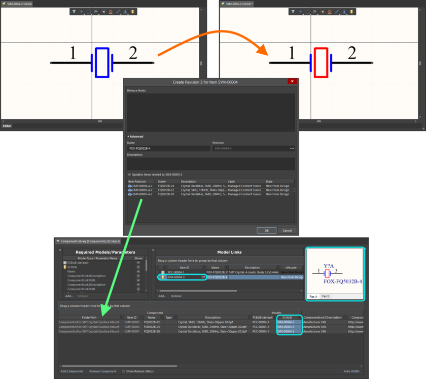 Example of pushing a change made to a Symbol Item, through to multiple Component Item Revisions that reference it.