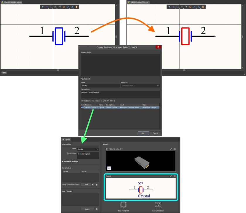 Example of pushing a change made to a Symbol Item, through to a single Component Item Revision that references it.