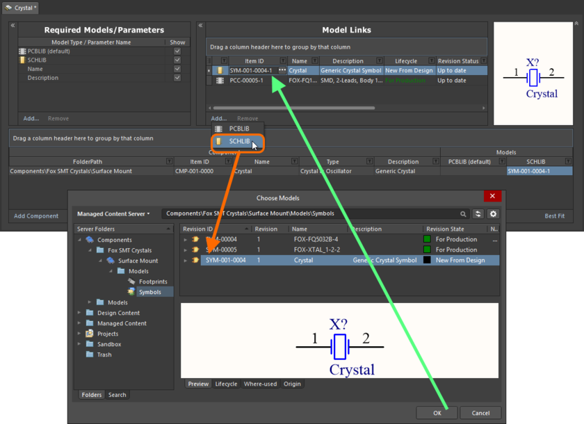 Example of referencing a revision of a Symbol Item as a model link, when direct editing a revision of a Component Item (managed component) using the Batch Editor.