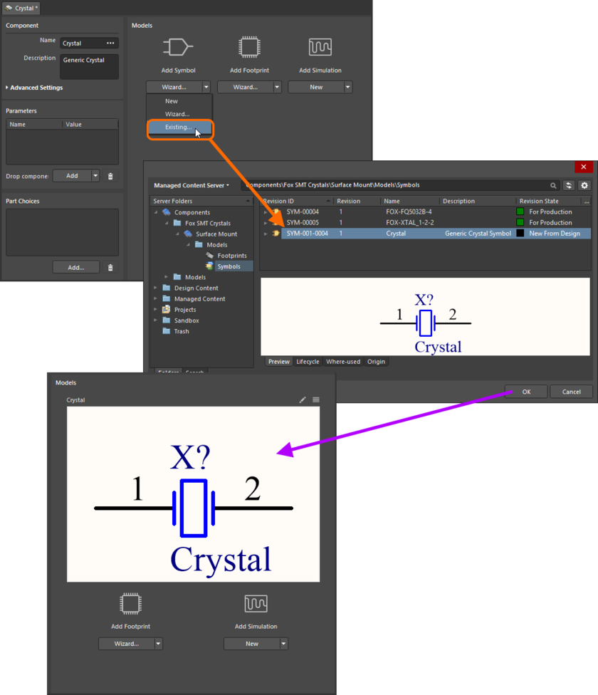 Example of referencing a revision of a Symbol Item as a model link, when direct editing a revision of a Component Item (managed component) using the Single Component Editor.