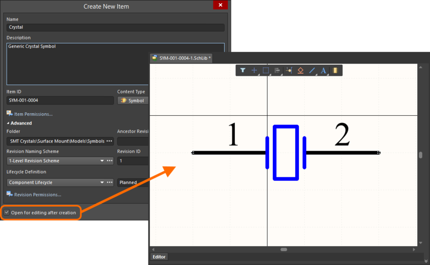 Example of editing the initial revision of a Symbol Item, directly from the managed content server - the temporary Schematic Library Editor provides the document with which to  define your schematic symbol.