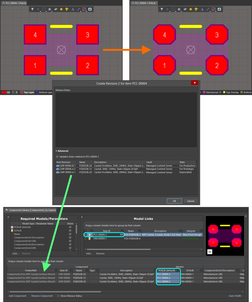 Example of pushing a change made to a Footprint Item, through to multiple Component Item Revisions that reference it.