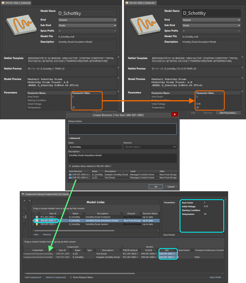 Example of pushing a change made to a Simulation Model Item, through to multiple Component Item Revisions that reference it.