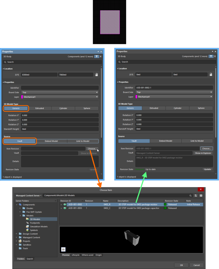 Manually linking the 3D Body object to a revision of a 3D Model Item, in the target Server.
