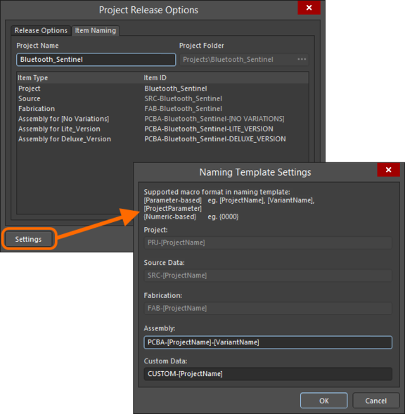 Set the target folder and define the naming for generated data items in the target managed content server.