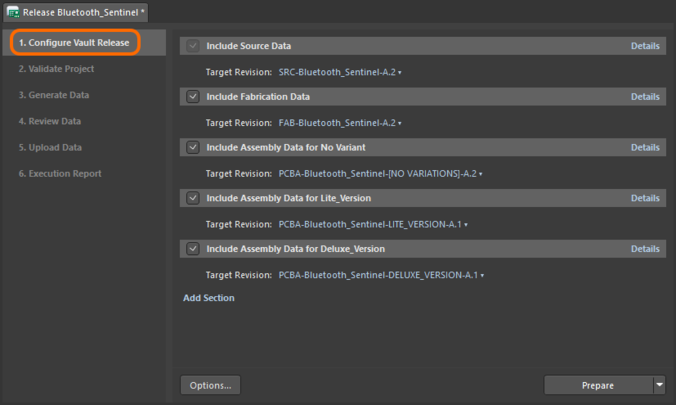 Stage 1 of the project release process - configuring what is to be included in the release (what data to generate).