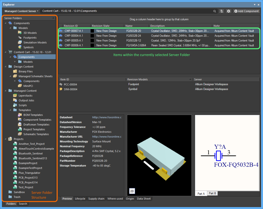 Items are created in a managed content server. From within Altium Designer, the Explorer panel provides the interface to your Server.