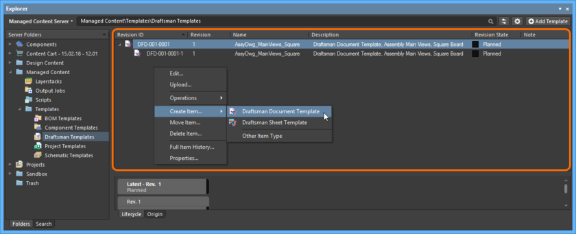 Right-click within the Item region of the Explorer panel to access commands relating to Item creation.