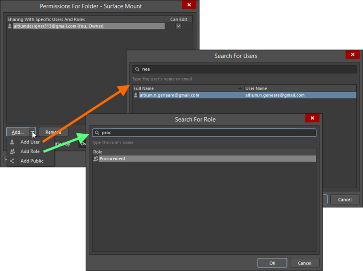 Example of adding a user and a role. Roll over the image to compare configuration in the Explorer panel, with configuration through  the browser-based interface.