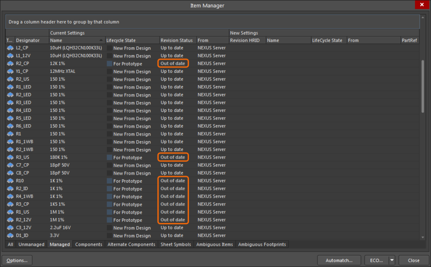 Note the components that have been detected as being Out of Date, select them and then right-click to perfom an Update.