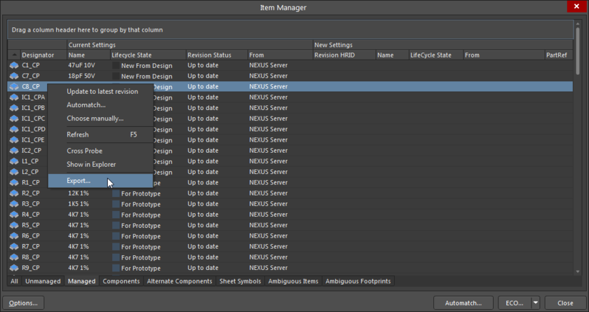 Select Export from the right-click menu to generate a report from the Item Manager.