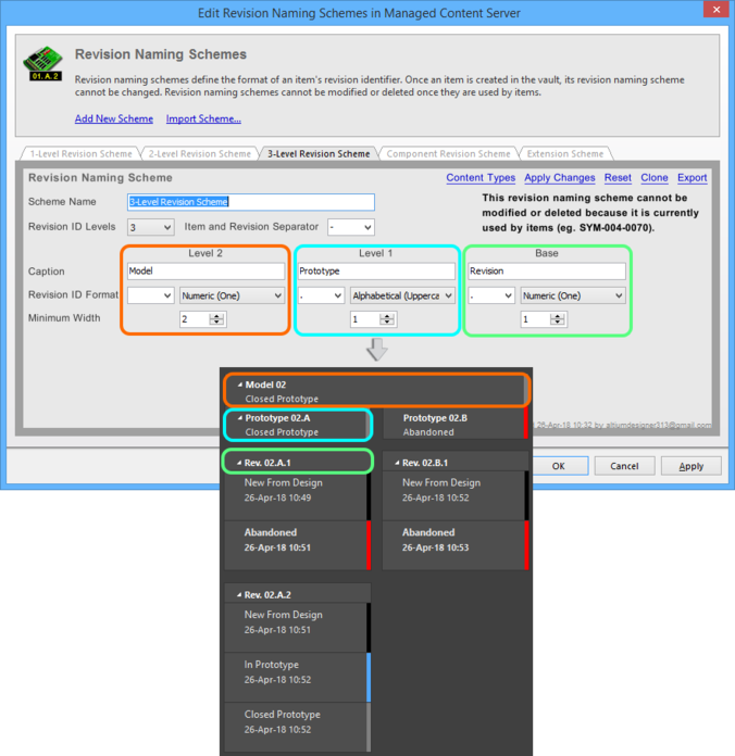 The way that revisions are displayed in the Item View is related to the Revision Naming Scheme employed for the parent Item.