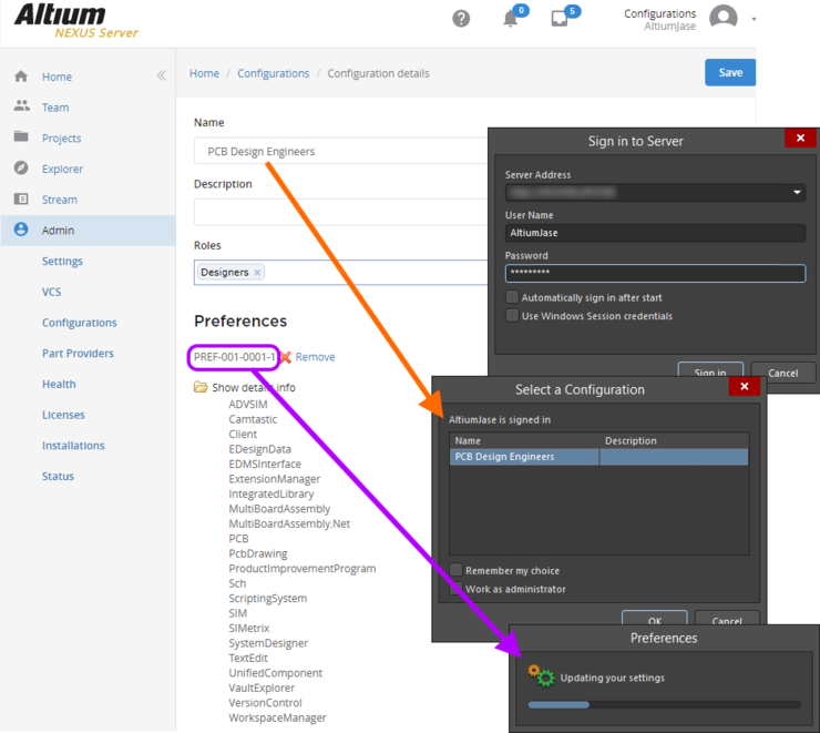 When you sign in to your managed content server and choose an applicableenvironment configuration, the preferences defined in the revision of the managed  Designer Preferences Item specified for that configuration, will be loaded directly.