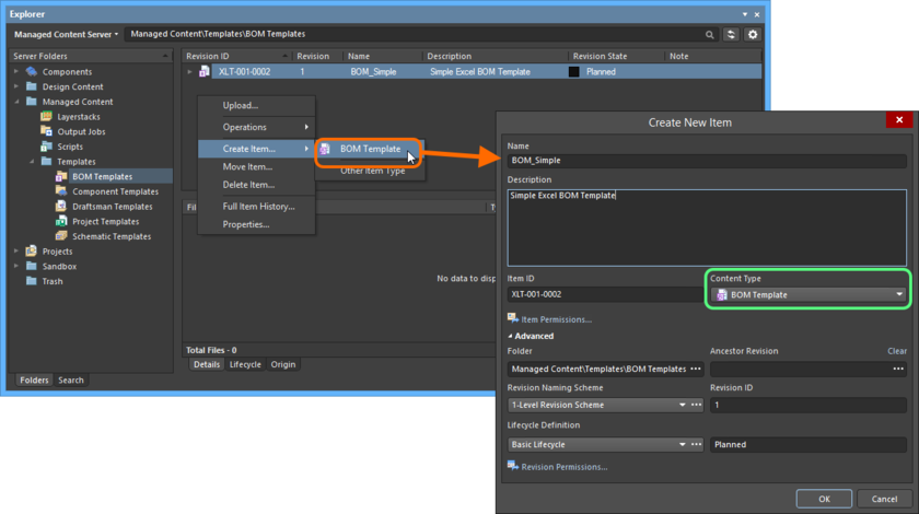Creating a BOM Template Item within a BOM Templates folder - the correct Content Type is available on the context menu.