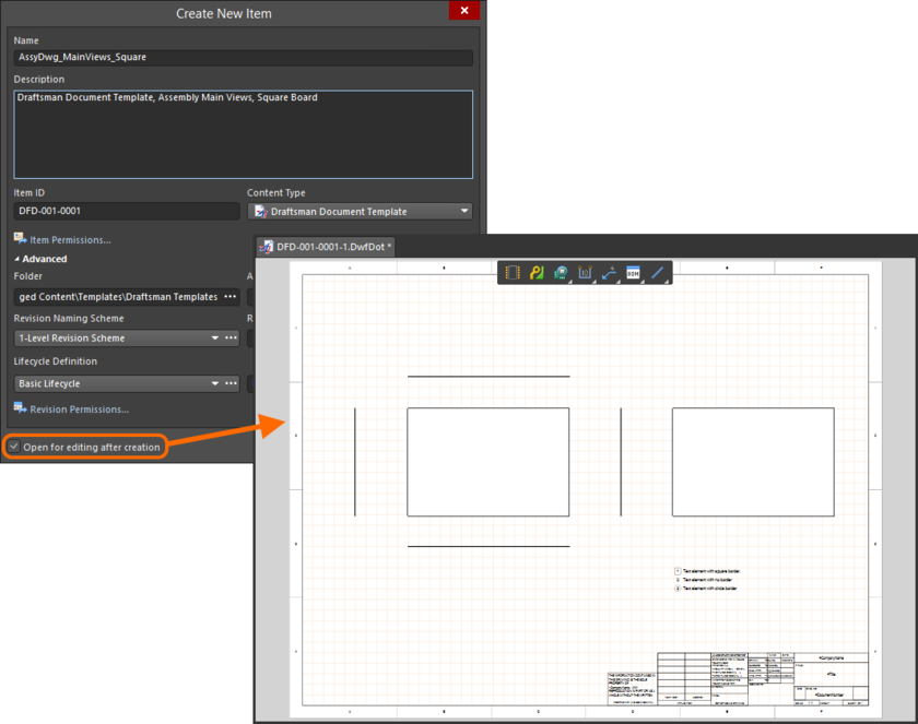 Example of editing the initial revision of a Draftsman Document Template Item, directly from the Server - the temporary PcbDrawing Editor provides the document with which to  define your document template.