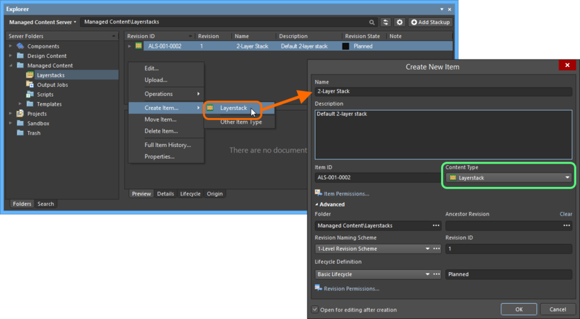 Creating a Layerstack Item within a Layerstacks folder - the correct Content Type is available on the context menu.