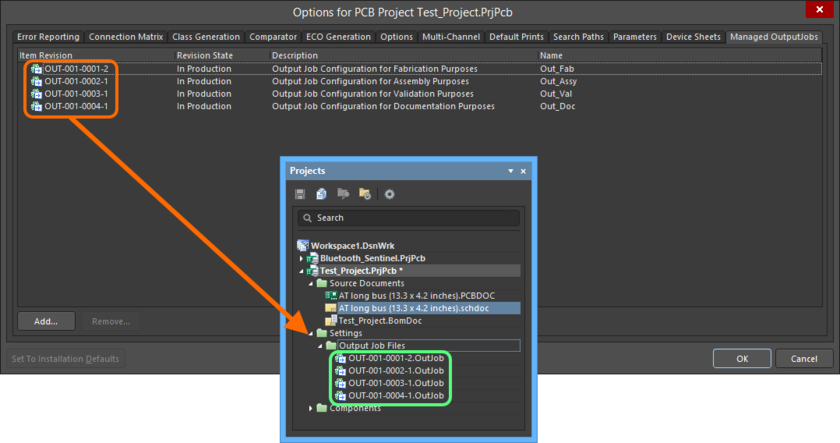 The added revisions of OutputJob Items will be reflected in the Projects panel after the project is saved and recompiled.