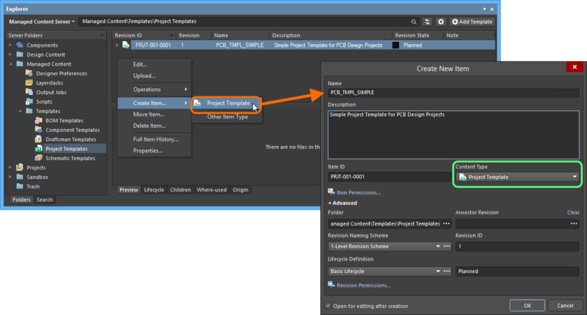 Creating a Project Template Item within a Project Templates folder - the correct Content Type is available on the context menu.