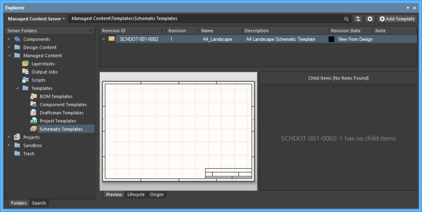 Browse the released revision of the Schematic Template Item, back in the Explorer panel. Switch to the Preview aspect view to see the template graphics.