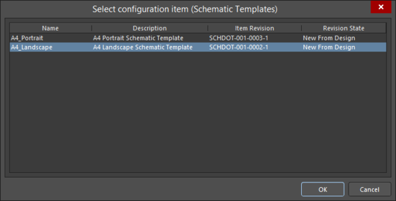 Choose from the latest revisions of Schematic Template Items, shared with you, when creating a new Schematic document.