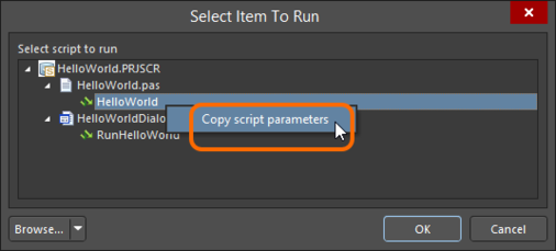 Select the required process/procedure in the managed script project, then copy the script's parameters.