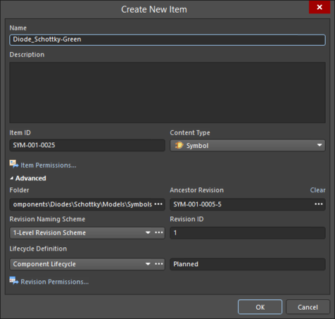 Give the new Item a Name and set any other attributes, in the Create New Item dialog.