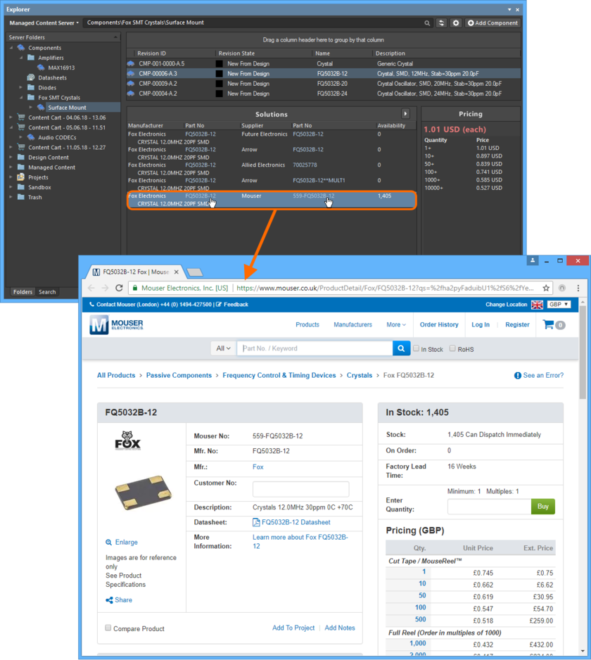 Click to access a URL associated with a supply chain solution for a Component Item in the Server.